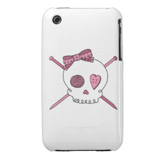 Skull & Knitting Needles (Pink) iPhone 3 Case-Mate Cases