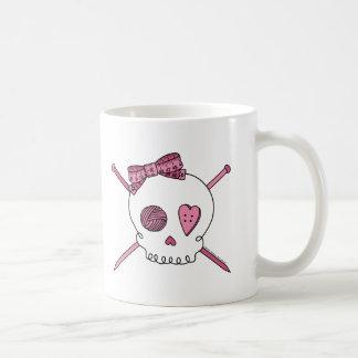 Skull & Knitting Needles (Pink) Classic White Coffee Mug