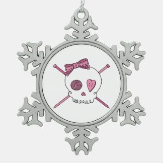 Skull & Knitting Needles (Pink) Snowflake Pewter Christmas Ornament