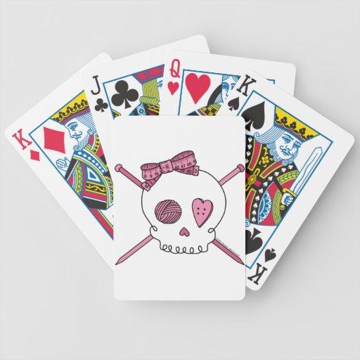 Skull & Knitting Needles (Pink) Bicycle Playing Cards