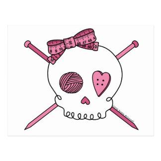 Skull & Knitting Needles (Pink) Post Cards