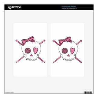Skull & Knitting Needles (Pink) Kindle Fire Skin