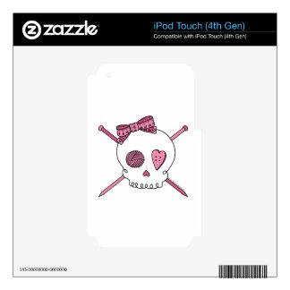 Skull & Knitting Needles (Pink) Skin For iPod Touch 4G