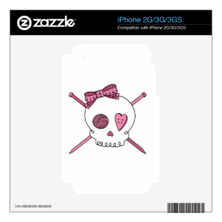 Skull & Knitting Needles (Pink) iPhone 2G Decal