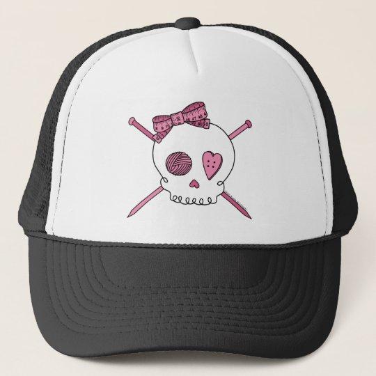 Skull & Knitting Needles (Pink) Trucker Hat
