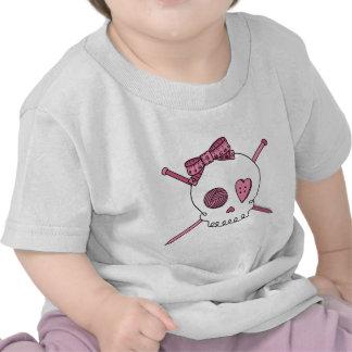 Skull & Knitting Needles (Pink) Tee Shirt