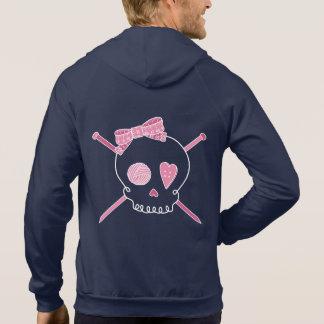 Skull & Knitting Needles (Pink & White) Hoodie