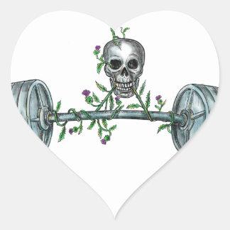 Skull Lifting Barbell Thistle Tattoo Heart Sticker