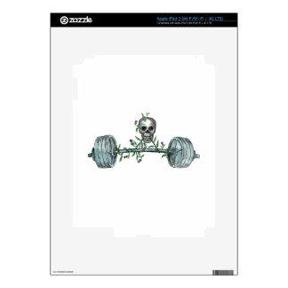 Skull Lifting Barbell Thistle Tattoo iPad 3 Skin