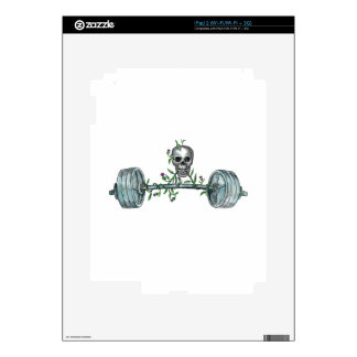 Skull Lifting Barbell Thistle Tattoo Skins For The iPad 2