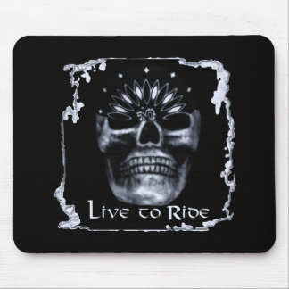 Skull-Live to Ride Mouse Pad