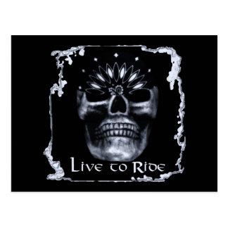 Skull-Live to Ride Postcard