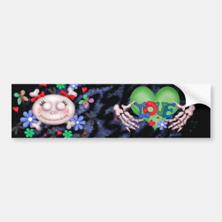 SKULL LOVE ALIEN MONSTER CUTE Bumper Sticker