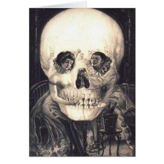 Skull Love Retro Optical Illusion Greeting Card