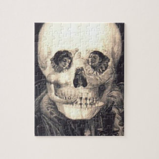 Skull Love Retro Optical Illusion Jigsaw Puzzle