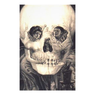 Skull Love Retro Optical Illusion Stationery