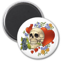 skull, skulls, heart, hearts, flower, flowers, comic, art, good, evil, al rio, rap, Ímã com design gráfico personalizado