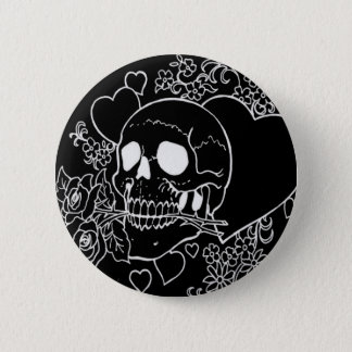 Skull Love - Skulls, Roses and Hearts by Al Rio Button