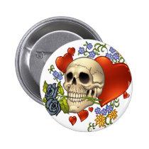 skull, skulls, heart, hearts, flower, flowers, comic, art, good, evil, al rio, rap, Button with custom graphic design