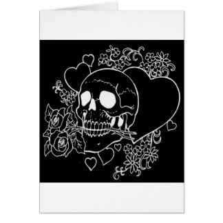 Skull Love - Skulls, Roses and Hearts by Al Rio Card