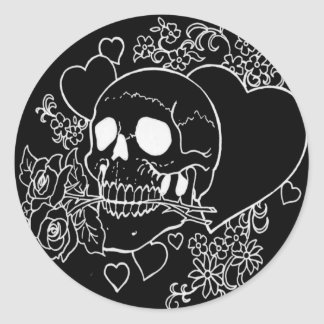 Skull Love - Skulls, Roses and Hearts by Al Rio Classic Round Sticker