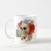 skull, skulls, heart, hearts, flower, flowers, comic, art, good, evil, al rio, rap, Mug with custom graphic design