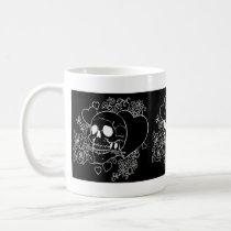 evil, skull, skulls, heart, hearts, flower, flowers, rose, roses, black, al rio, characters, Mug with custom graphic design