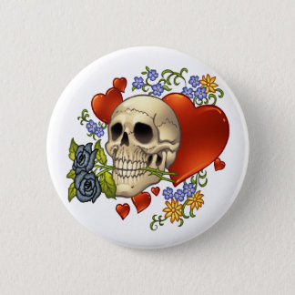 Skull Love - Skulls, Roses and Hearts by Al Rio Pinback Button