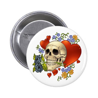 Skull Love - Skulls, Roses and Hearts by Al Rio Pinback Button