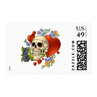 Skull Love - Skulls, Roses and Hearts by Al Rio Postage