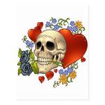 Skull Love - Skulls, Roses and Hearts by Al Rio Postcards