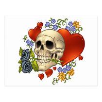skull, skulls, heart, hearts, flower, flowers, comic, art, good, evil, al rio, rap, Cartão postal com design gráfico personalizado