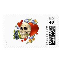 skull, skulls, heart, hearts, flower, flowers, comic, art, good, evil, al rio, pop art, Stamp with custom graphic design