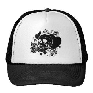 Skull Love - Skulls, Roses and Hearts by Al Rio Trucker Hat