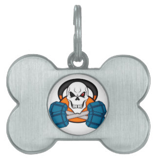 Skull love's weights pet ID tag