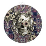 Skull made of poppies and butterflies dart boards