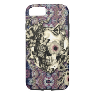 Skull made of poppies and butterflies iPhone 7 case