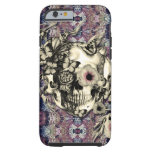 Skull made of poppies and butterflies tough iPhone 6 case