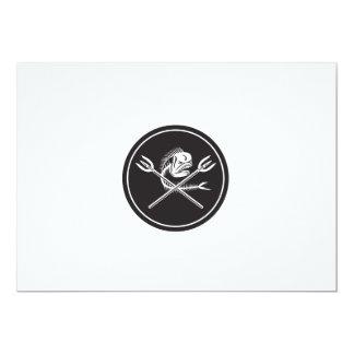 Skull Mahi Mahi Dolphin Fish Crossed Spears Circle Card