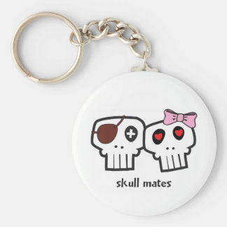 Skull Mates Basic Round Button Keychain