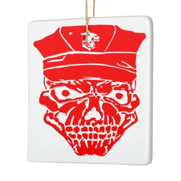 Skull & Military Cover  FB.com/USAPatriotGraphics Ceramic Ornament
