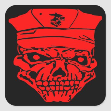 Skull & Military Cover  FB.com/USAPatriotGraphics Square Sticker