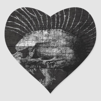 Skull Mohawk Heart Sticker