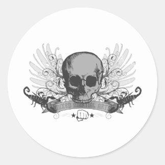 Skull montage - gray classic round sticker