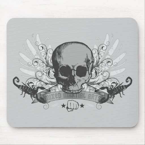 Skull montage - gray mouse pad