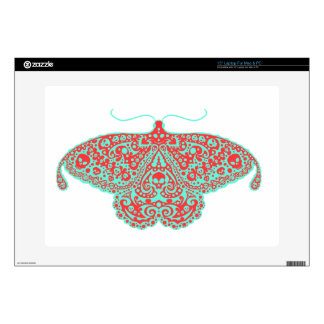 "skull moth orange and teal 15"" laptop skins"