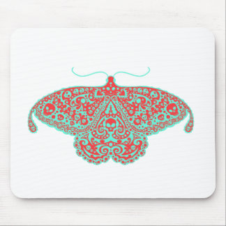 skull moth orange and teal mouse pad