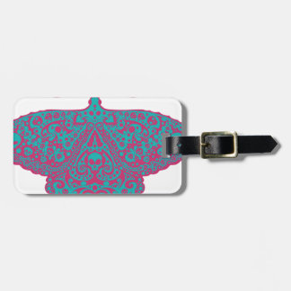 skull moth pink and turquoise bag tag