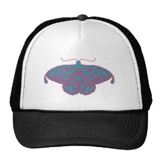 skull moth pink and turquoise trucker hat