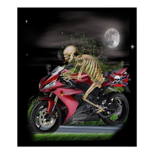 Skull motorcycle rider posters